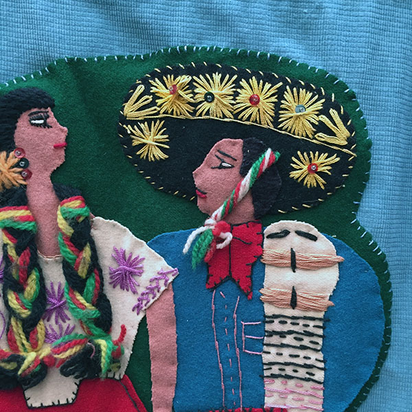 Mexican Wool Jacket With Appliqued Man and Woman 10