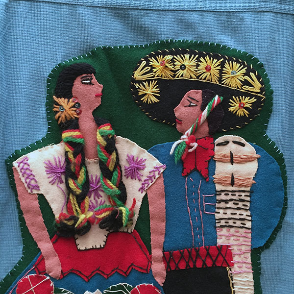 Mexican Wool Jacket With Appliqued Man and Woman 2