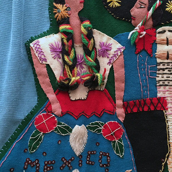 Mexican Wool Jacket With Appliqued Man and Woman 3