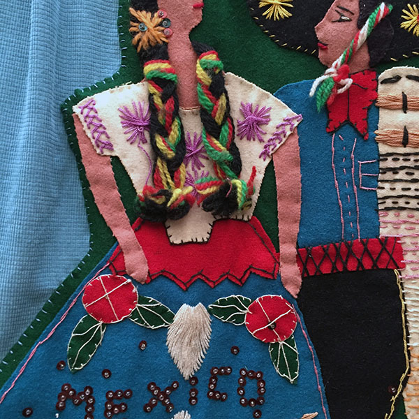 Mexican Wool Jacket With Appliqued Man and Woman 4