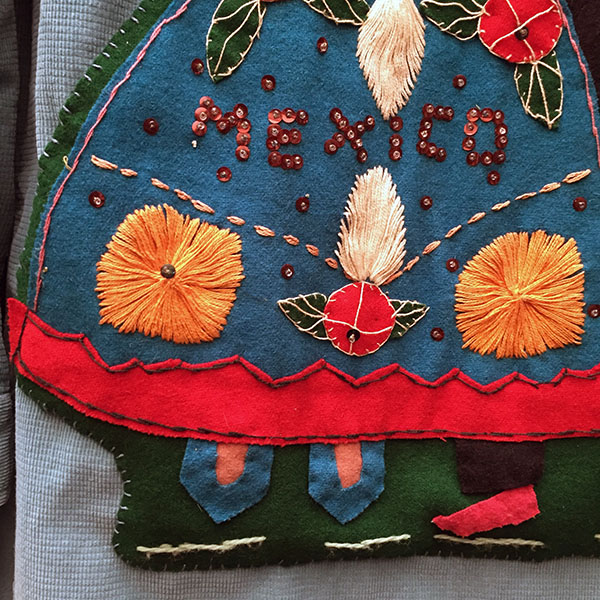 Mexican Wool Jacket With Appliqued Man and Woman 6