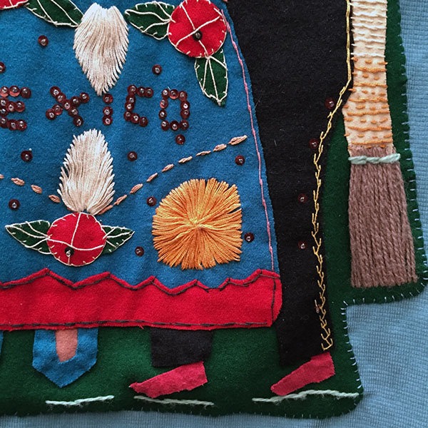 Mexican Wool Jacket With Appliqued Man and Woman 7