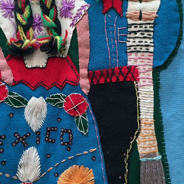 Mexican Wool Jacket With Appliqued Man and Woman 8