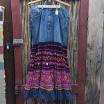 Yao Hill Tribe, Hand Embroidered Silk Skirt, Denim Top