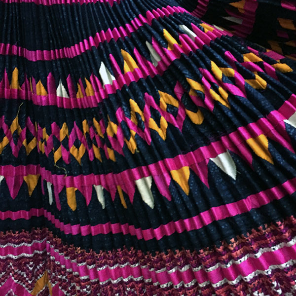 Yao Hill Tribe, Hand Embroidered Silk Skirt On Denim Top 11
