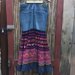 Yao Hill Tribe, Hand Embroidered Silk Skirt On Denim Top 12