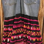 Yao Hill Tribe, Hand Embroidered Silk Skirt On Denim Top 14