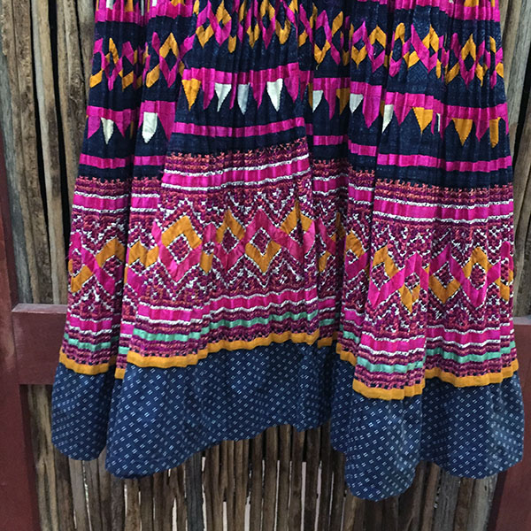 Yao Hill Tribe, Hand Embroidered Silk Skirt On Denim Top 15