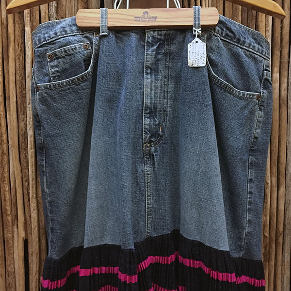 Yao Hill Tribe, Hand Embroidered Silk Skirt On Denim Top 2