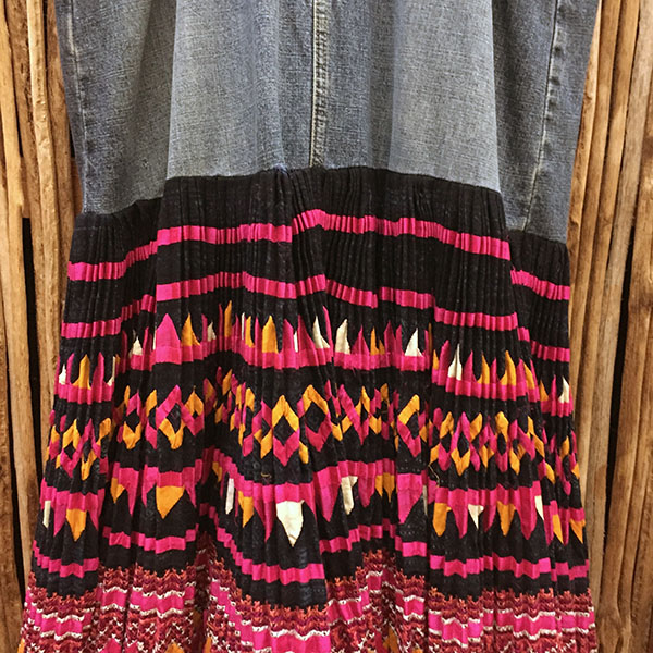 Yao Hill Tribe, Hand Embroidered Silk Skirt On Denim Top 3