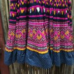 Yao Hill Tribe, Hand Embroidered Silk Skirt On Denim Top 4