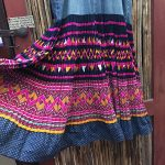 Yao Hill Tribe, Hand Embroidered Silk Skirt On Denim Top 5