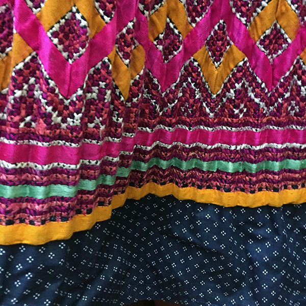 Yao Hill Tribe, Hand Embroidered Silk Skirt On Denim Top 8