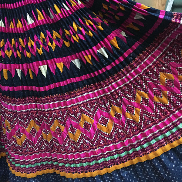 Yao Hill Tribe, Hand Embroidered Silk Skirt On Denim Top 9
