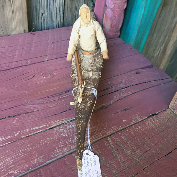 1880s Eskimo Carved Wooden Doll In Seal Skin Kayak