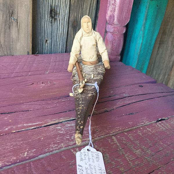 1880s Eskimo Carved Wooden Doll, Seal Skin Kayak