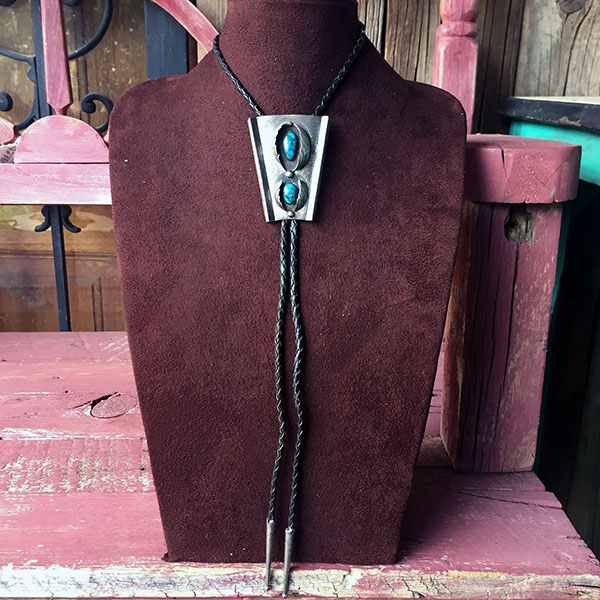 1960s Navajo Sterling Bolo Tie With Bisbee Turquoise