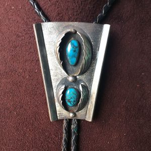 1960s Navajo Sterling Bolo Tie, Bisbee Turquoise
