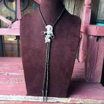 1960s Navajo Sterling Hoop Dancer Bolo Tie With Natural Turquoise
