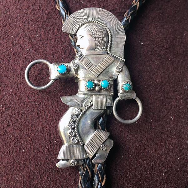 Navajo Hoop Dancer Bolo Tie, Natural Turquoise
