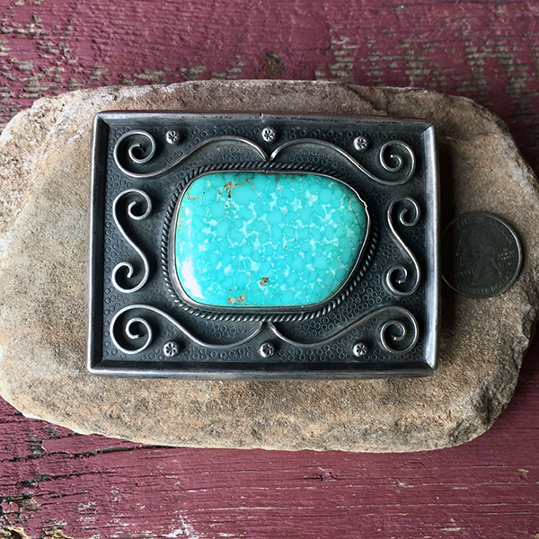 1960s Zuni Sterling Buckle With Beautiful Turquoise Mountain Stone