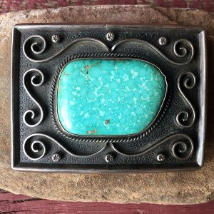 1960s Zuni Sterling Buckle, Beautiful Turquoise Mountain Stone