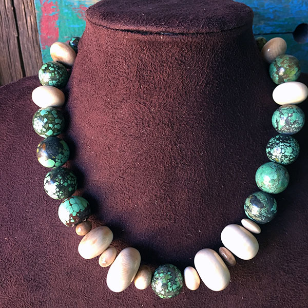 Fossilized Mammoth Ivory & Boulder Turquoise Necklace