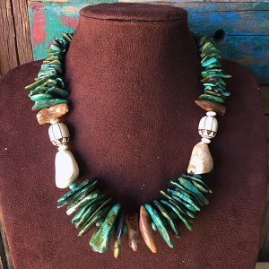 Turquoise Slabs, Fossilized Walrus Teeth & Bone Bead Necklace