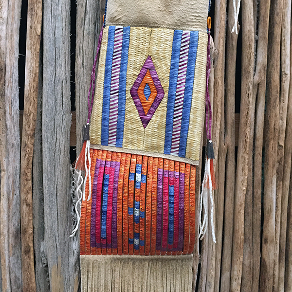 Rare Porcupine Quilled Buckskin Pipe Bag With 4 Quill Techniques 9