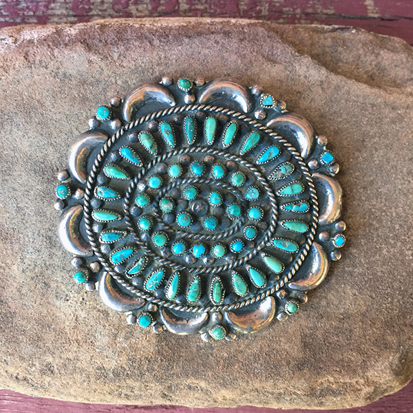 Zuni Valentino, Matilde Banteah Sterling Broach, Turquoise Stones