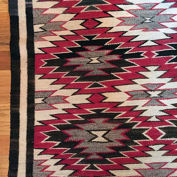 1940s Red Mesa Navajo Native Wool Rug