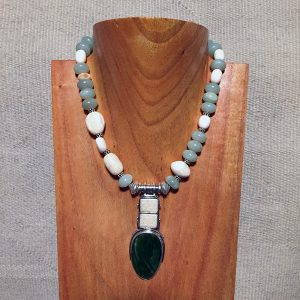 Fossilized Walrus Ivory & Alaskan Jade Necklace