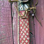 Painted Rawhide Knife Sheath, 1800s Butcher Knife