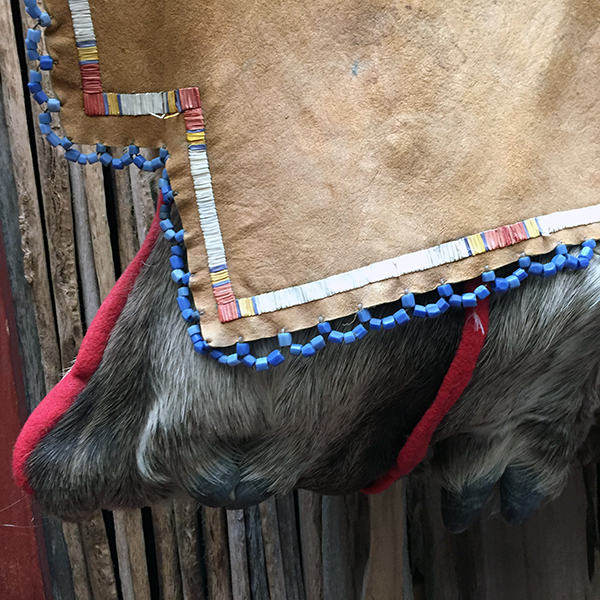 Porcupine Quilled Rawhide Elk Leg Bag